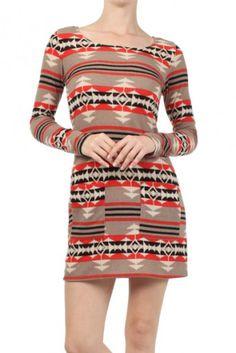Aztec printed, long sleeve boat neck dress.