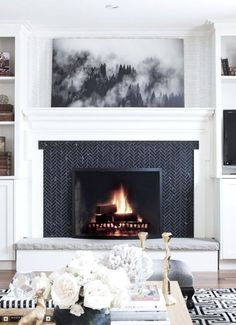 Latest Pic Fireplace Tile ideas Popular It can be winter. Even though the enviro… – Fireplace tile ideas Herringbone Fireplace, Wooden Fireplace, White Fireplace, Fireplace Hearth, Farmhouse Fireplace, Fireplace Surrounds, Fireplace Design, Fireplaces, Fireplace Ideas