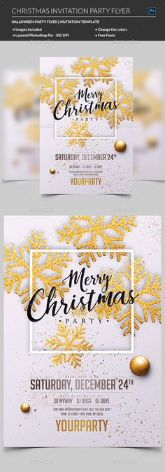 Christmas Party Invitation — Photoshop PSD #holiday #christmas template • Available here → https://graphicriver.net/item/christmas-party-invitation/20802458?ref=pxcr