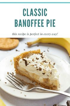 Easy Pie Recipes, Cream Pie Recipes, Sweet Recipes, Baking Recipes, Dessert Recipes, Banoffee Recipe, Bannoffee Pie, Digestive Biscuits, Pudding Recipes