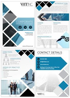 Van Heerden Troskie Inc. Company Profile Design Templates, Company Brochure Design, Graphic Design Brochure, Corporate Brochure Design, Magazine Ideas, Magazine Design, Photoshop Design, Corporate Profile, Business Profile