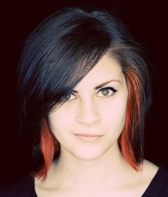 black hair with orange streaks. I don't think I would do that exact color scheme...but I like the idea.