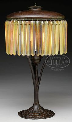 Tiffany prism table lamp. The first Tiffany lamp was created around c.1895, during America's Gilded Age. Beautiful in design and intricacy, each lamp was handmade by skilled craftsman, not mass or machine produced. Designed by Clara Driscoll who was a master designer for Louis Comfort Tiffany. cwl