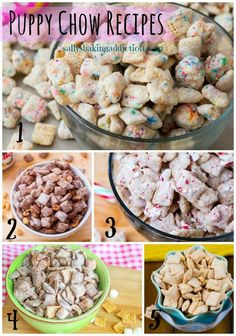 5 Puppy Chow (Muddy Buddy) Recipes. Cake Batter, Nutella, Peppermint Crunch, S'mores, and Butterscotch Peanut Butter.  Easy, no-bake, and addicting!
