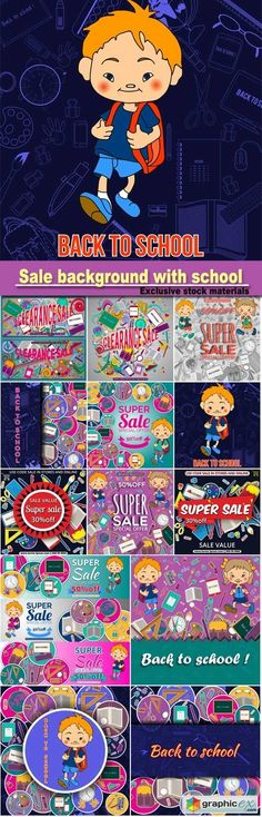 Sale background with school stationery icons, vector advertising banner template