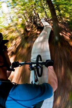 "Can't you just hear the ""clack, clack, clack "" from the trail in your head?  Man, this looks fun! @ Copper Harbor bike trails in Upper Michigan."
