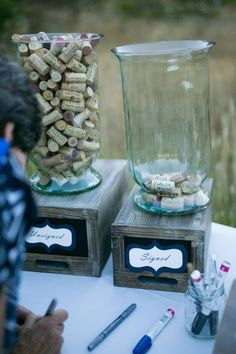 wine cork guest book with Sharpie paint markers - Deer Pearl Flowers