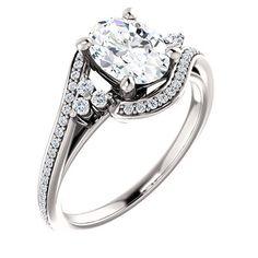 14k White Gold 1.25 Ct Oval Diamond #Engagement #Ring