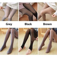 Flawless Legs Fake Translucent Warm Fleece Pantyhose - One size fits all /gray/brown Black / Pantyhose Pantyhose Fashion, Black Pantyhose, Nylons, Warm Leggings, Black Leggings, Flatten Tummy, Winter Fashion Outfits, Fashion Clothes, Brown Fashion