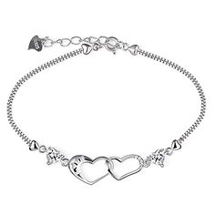 B.Catcher Womens Silver Bracelet Double Heart Charm Pendant Sterling Silver 925 Plated with Cubic Zirconia