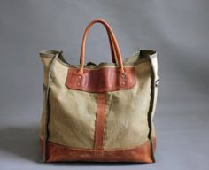 Vintage 80s Gokeys Leather Canvas Tote Bag by abrshop on Etsy, $150.00