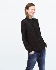 Image 2 of PRINT TIE-NECK SHIRT from Zara