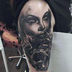 Black And Grey Tattoo Color Of Realist Horor Girl Face And Skull Tattoo At Arm Hand Tattoos Design