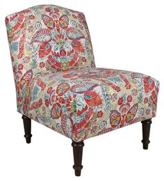 Clark Slipper Chair, Red Damask