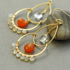 Got that Moroccan/Indian feeling...Love! Carnelian earrings Opal earrings Crystal quartz by joojooland, $69.00