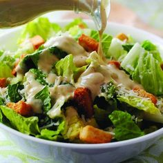 Caesar Salad is one of those creations that sounds elegant and complicated, yet is incredibly basic and easy to make. I have always shied away from making my own Caesar dressing because of two thin… Large Salad Bowl, Salad Bowls, Caesar Salad, Salad Dressing, Lettuce, Potato Salad, Salads, Tasty, Chicken