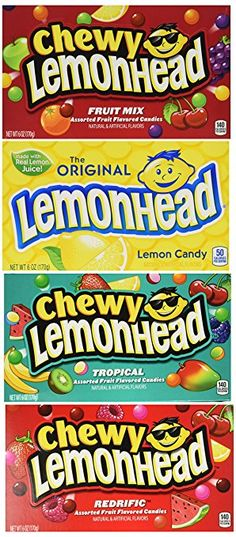 Lemonhead Candy Lovers Movie Theater Box 4 Flavor Variety Bundle: (1) Lemonhead, (1) Lemonhead & Friends Redhead Chewy, (1) Lemonhead & Friends Chewy, and (1) Lemonhead & Friends Tropical Chewy, 6 Oz. Ea. (4 Boxes Total)