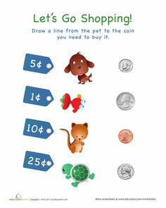 Worksheets: Let's Go Shopping!: Pets  Coins and their value, and there are two more similar worksheets
