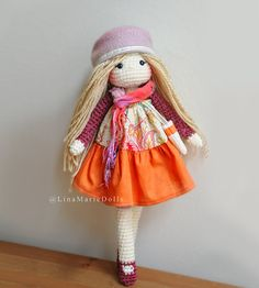Crochet Doll 17-18 long Ready to ship. by LinaMarieDolls on Etsy