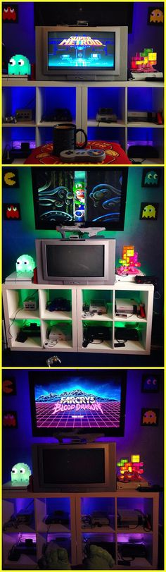 Retro and Modern video game console mashup with color changing LED display shelves.