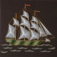 Threaded Tables - 4 - Directed by Bernard An eagle A sailboat An ela . Diy Embroidery Patterns, Paper Embroidery, Beaded Embroidery, Paper Quilling Patterns, Quilling Designs, String Art Diy, Pictures On String, String Art Patterns, Africa Art