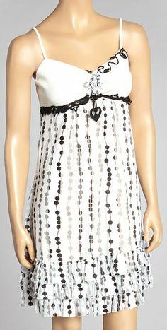 Black & White Ruffle Sleeveless Dress