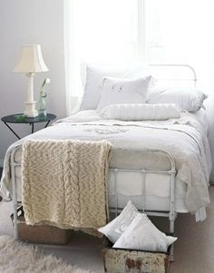 vintage chic. Love how blanket is laid over bed (my blush silk blanket?)
