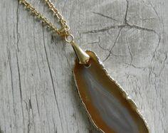 Golden - Colar de Pedra Agata Marrom