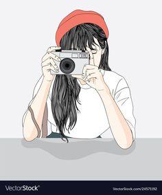 Girls enjoy photography in a way of life Premium Vector Cute Girl Drawing, Cartoon Girl Drawing, Girl Cartoon, Cute Cartoon, Cute Girl Wallpaper, Cartoon Wallpaper, Camera Cartoon, Girly Drawings, Bd Comics