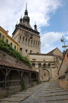 Sighisoara, Romania, where Dracula (Vlad Tepes) was born. Looking up at the clock tower Bulgaria, Visit Romania, Romania Travel, Bucharest Romania, Central Europe, Eastern Europe, Macedonia, Places To See, Beautiful Places