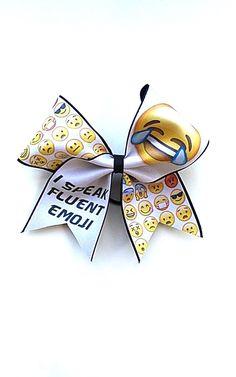 I Speak Fluent Emoji Cheer Bow by Just Cheer Bows