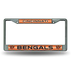 NFL Bling Chrome Plate Frame  http://allstarsportsfan.com/product/nfl-bling-chrome-plate-frame/?attribute_pa_teamname=cincinnati-bengals  Impact-resistant chrome-finish metal frame Measures 12-Inch by 6-Inch High quality frame