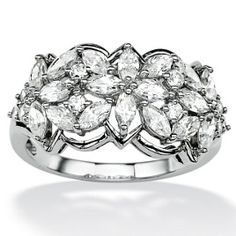 Ordered $64.79 Platinum over Sterling Silver Marquise-Cut and Round DiamonUltra™ Cubic Zirconia Flower Ring at PalmBeach