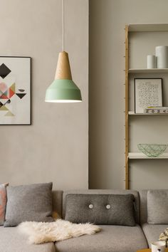 Eikon Green Wooden Pendant Lamp by Schneid. The Eikon consists of a turned ash wooden head and a removable, interchangeable metal shade. The lampshades are powder coated and can be attached with magnets.