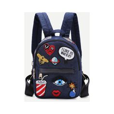 SheIn(sheinside) Dark Blue Zip Front Cartoon Patch Mini Backpack ($25) ❤ liked on Polyvore featuring bags, backpacks, navy, day pack backpack, comic backpack, knapsack bag, front zip backpack and cartoon character backpacks