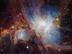The majestic Orion Nebula shows the true power of our Universe. This image shows the heart of the nebula where most star formation is found. Cosmos, Orion Nebula, Andromeda Galaxy, Helix Nebula, Carina Nebula, Constellation Orion, Hubble Space Telescope, Space And Astronomy, Infrared Telescope