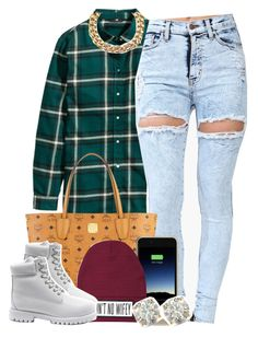 """""""Untitled #1397"""" by lulu-foreva ❤ liked on Polyvore featuring H&M, Michael Kors, MCM, Mophie, Dimepiece, Timberland and Auriya"""
