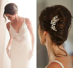 Thrilled to have had this bridal hairpiece selected by Jade Roper for her wedding on NBC's The Bachelor! She wore one of our wedding garters too!!  Both photos by John and Joseph Photography, gown by Galia Lahav, hair by Paul Pereaz as seen on NBC's Valentine Day's Special, 20 years of The Bachelor.
