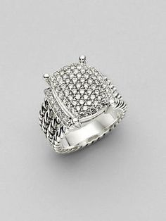 David Yurman Diamond & Sterling Silver Wheaton Ring