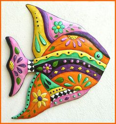 Hand painted metal tropical fish wall hanging - Tropical decor, Caribbean decor, Island decor, Hand cut from recycled steel drums in Haiti. A hanger is on the back. Colorful addition to your tropical