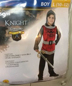 Boys Costume Renaissance Knight Caballero Medieval Fantasy Size 10/12 Hooded…