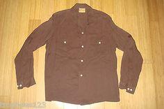 50s 100% Brown Rayon Gaberdine Ricky Loop Collar Shirt Workwear Rockabilly RARE