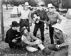 Sons of the Pioneers - Clockwise from Tim Spencer (in black): Hugh and Karl Farr, Bob Nolan, Lloyd Perryman and Pat Brady.    (Courtesy of Ed Phillips)