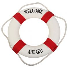 "20"" Welcome Life Preserver Cloth Ring Buoys Red. Smart looking 20 Inch Welcome Aboard life preservers in red & white. These classic life buoy rings beckon all a hardy ""WELCOME ABOARD"".  Rings measure 20"" diameter overall, inside diameter space is 11.5"" diameter by 4"" wide x 3"" thick flotation foam with canvas coverings.  These are a nice sized ring; the measurement doesn't include the additional diameter the white bolt rope adds. The back side also …"