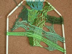 Sprang is a very old braiding technique, done with the yarn stretched in a frame. I like to use sprang in a very free way: freeform sprang. Textiles, Crewel Embroidery, Rug Hooking, Needle And Thread, Clothes Hanger, Crochet Bikini, Tapestry, Fancy, Spring