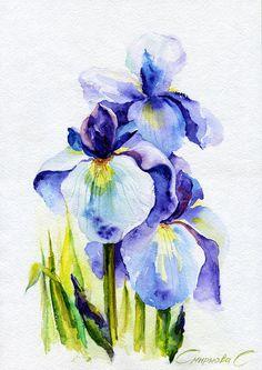 Blue Irises, Irises, Flowers, Watercolor Original Painting from the Artist #Realism