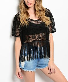 Black Lace Fringe-Trim Swing Top by MS Accessories #zulily #zulilyfinds
