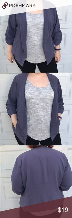 PLUS Torrid Ruched Sleeve Open Front Blazer Great grayish purple blazer from Torrid! Size 3. Ruched sleeves. Open slight waterfall front. Side pockets. Fully lined in soft stretchy material. Whole piece is stretchy. Outer fabric is a crepe like material. (SIZING NOTE: My size has changed since originally buying this piece, so it's a little large on me in the photos, however this fits a true size 26/28 perfectly!) torrid Jackets & Coats Blazers