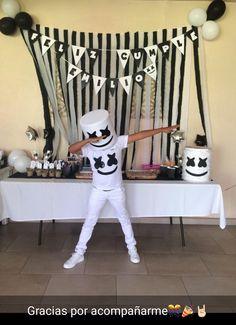 Marshmello B-Day - Marshmello Party - Hallowen 7th Birthday Party Ideas, Camo Birthday, 10th Birthday, Halloween Costumes For Kids, Halloween Party, Kids Costumes Boys, Bolo Dj, Dj Party, Dj Marshmello Costume
