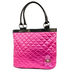 """NFL San Francisco 49ers BCA Quilted Tote by Littlearth. $26.60. L 16"""" W 5.5"""" H 12. A Crucial Catch- Annual Screening Saves Lives. The NFL and Littlearth are supporting the American Cancer Society in its efforts to create a world with less breast cancer and more birthdays. Please visit nfl.com/pink to learn more. Littlearth's Quilted Collection is the perfect bag for the astute Sports Fan. This Quilted Tote measures 16"""" Length x 5.5"""" Width x 12"""" Height and has an 8""""..."""